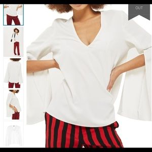 TopShop Split Sleeve V neck White Tunic